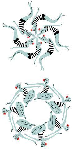 Swimming costumes illustration swimsuits synchronized Simmare baddräkt illustration mönster synkroniserat By: Simone Massoni