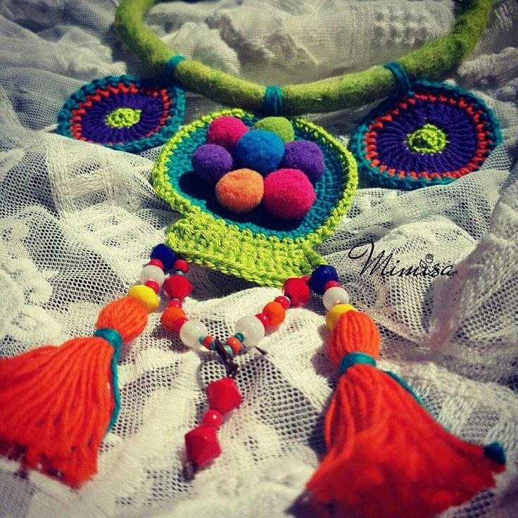 Necklace bohemian style Handmade crochet mandala