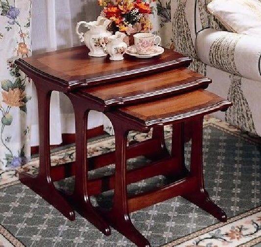 Mahogany Nesting Tables 3 Pc Wood Bedroom Furniture Rectangle Living Room Nest