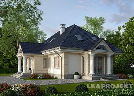 LK&866 - projekt domu jednorodzinnego w stylu dworkowym