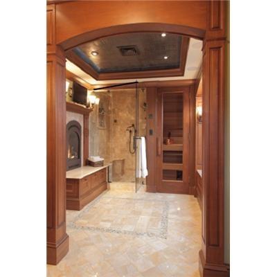 {BATHROOM} ~ shower, sauna, fireplace=absolutely amazing <3