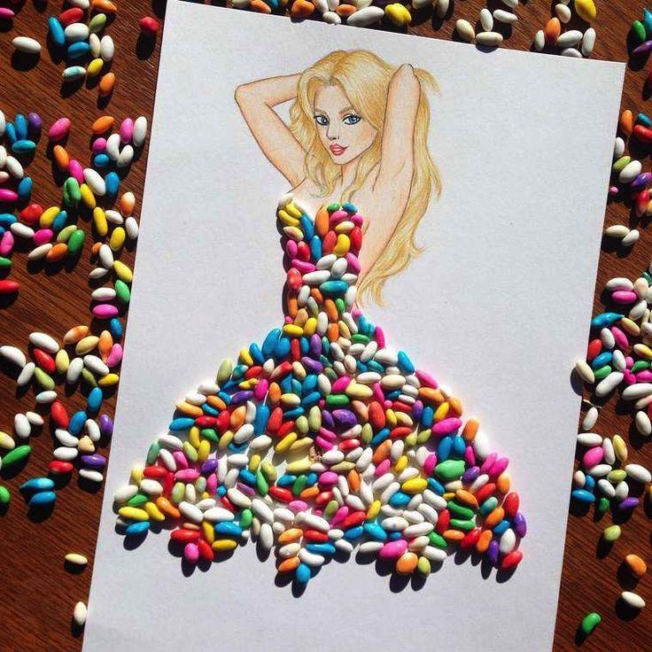 Il dessine des robes à l'aide de nourriture. Robe en bonbons acidulé. | fénoweb