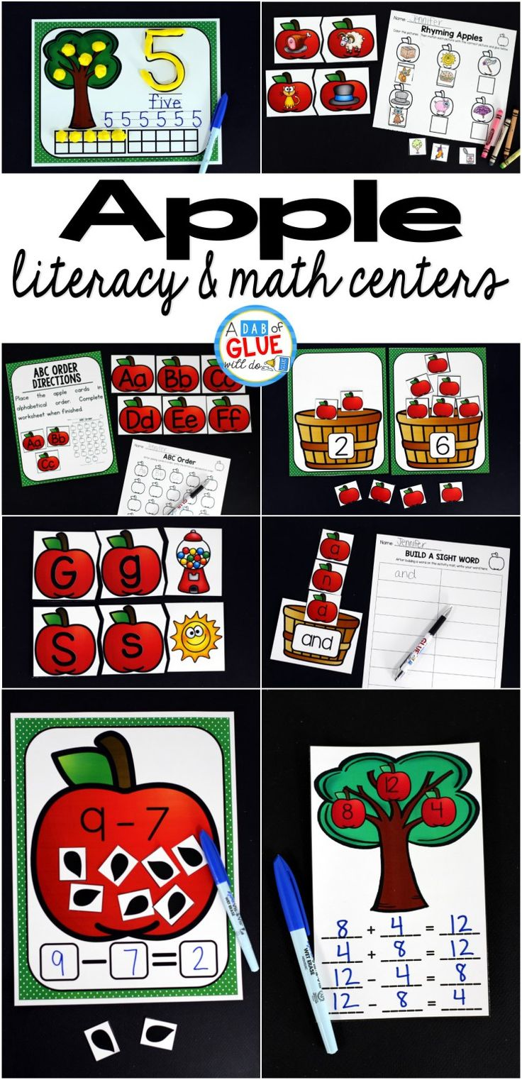Engage your class in an exciting hands-on experience learning more about the apple! This Apple Literacy and Math Centers resource is perfect for language arts and math centers in preschool, pre-K, Kindergarten, and First Grade classrooms and packed full of inviting student activities. Celebrate Fall with apple themed center student worksheets.  Students will learn more about apples using puzzles, worksheets, clip cards, and subtraction mats. This pack is great for homeschoolers, hands-on…
