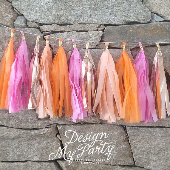 Flamingo 2.0 Glam Garland  Peach Raspberry by DesignMyPartyShop