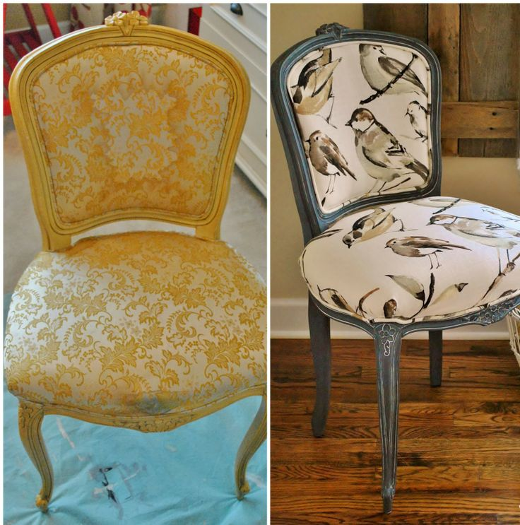 French Chair Reupholstery Makeover and Tutorial -- good step-by-step with homemade white wax used on the wood.