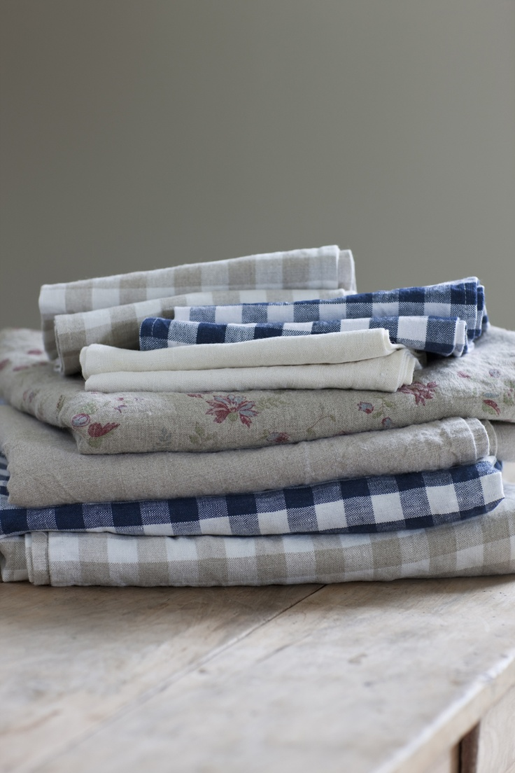 Inchyra's lovely 'aged' linens are entirely made in Britain, and come in plain, posy, ticking and gingham.