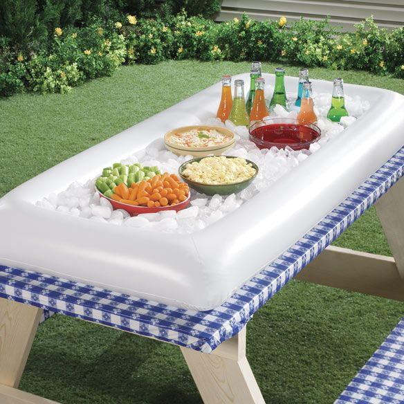 Inflatable Serving Bar Just ordered a few of these for my daughter's wedding reception. Now people won't get sick from the potato salad.
