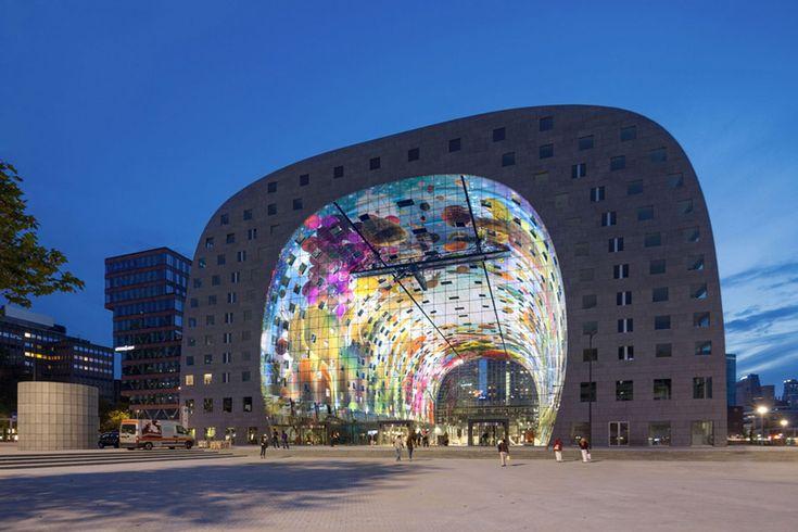 MVRDV-designed markthal housing   market hall opens in rotterdam - designboom | architecture