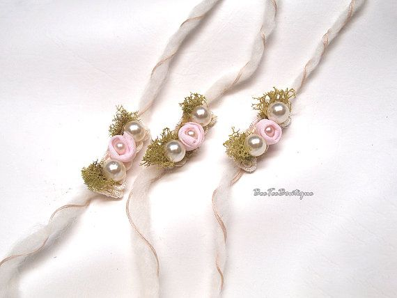 Alette - tieback fascia neonato fotografia puntelli - fiore rosa perla