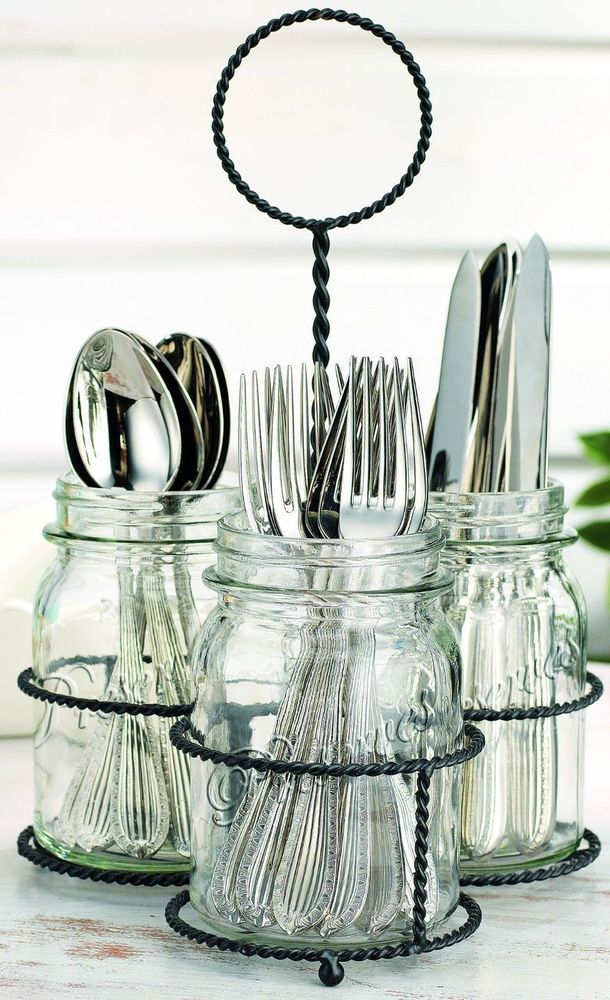 NEW Kitchen Mason Jar Flatware Caddy Cutlery Storage Holder Silverware Organizer