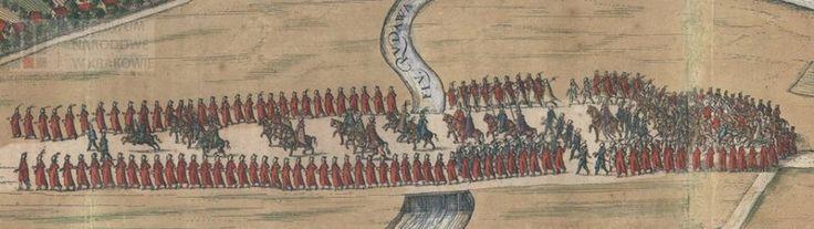 """Gwardia nadworna Zygmunta III, 1603-1605, z panoramy Krakowa w VI tomie """"Civitates Orbis Terrarum"""" Georga Brauna i Franza Hogenberga (wyd. Kolonia, 1617).  [Archiwum Narodowe w Krakowie]"""