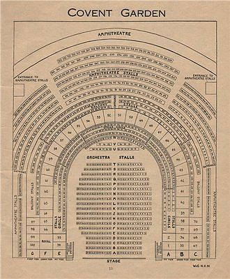 Covent Garden Theatre Vintage Seating Plan West End Royal Opera House 1936 Gardens Opera