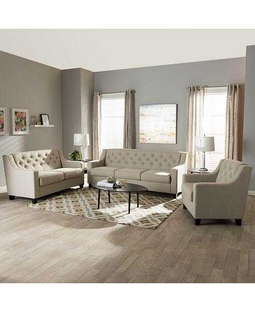 Arcadia Modern Button-Tufted 3-Pc Living Room Sofa Set, Quick Ship