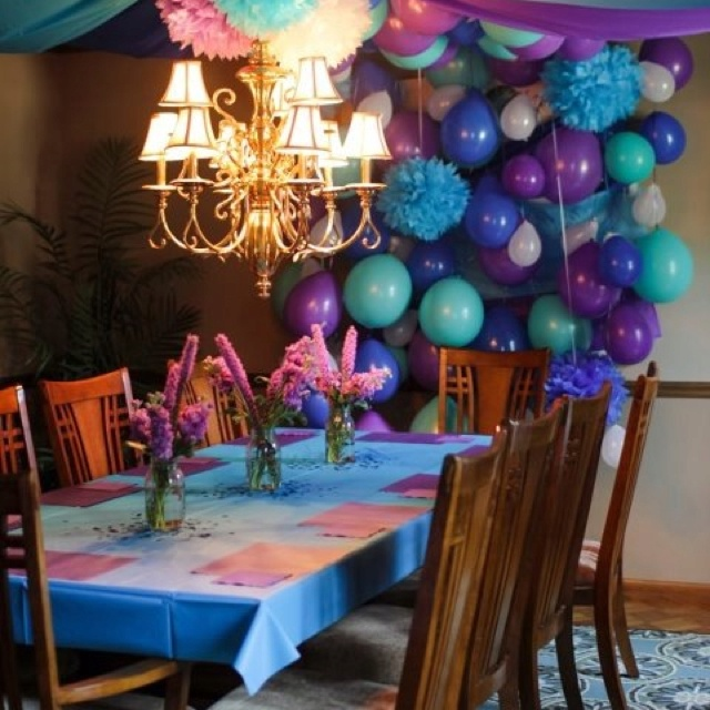 Balloon wall and vinyl table cloth in blue, teal, and purple. Did this for my little girls 2nd birthday party. Colors were beautiful!