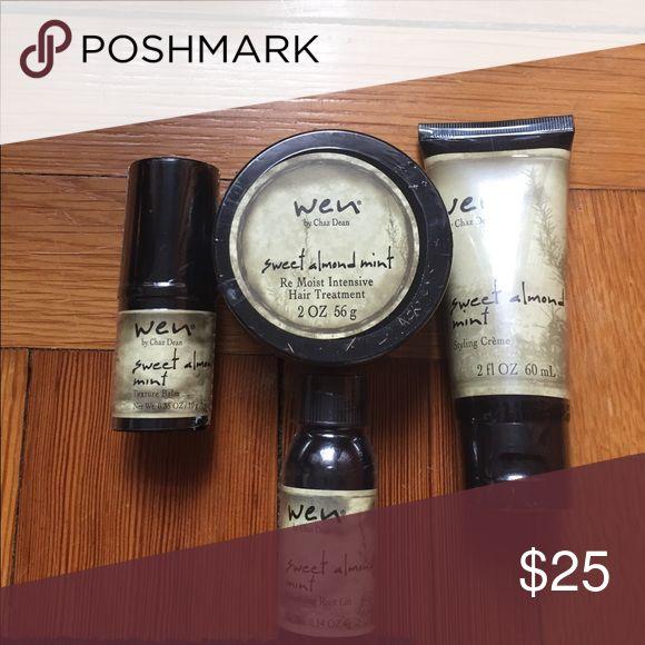 Wen hair care Sweet almond mint texture balm, moist intensive hair treatment, styling cream and root lifter. Smells great! Wen by Chaz Dean Makeup