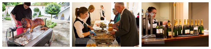 Hog roast, food, and drink at the wedding reception | Warwick House wedding | Linda Scannell Photography