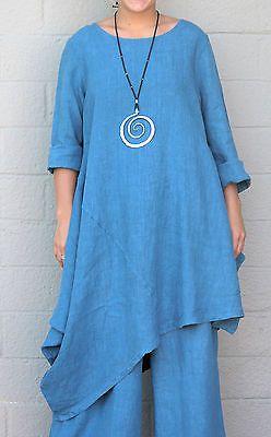 BRYN WALKER Flax HEAVY-weight Linen NADA TUNIC Dress Top M (M/L) VISTA