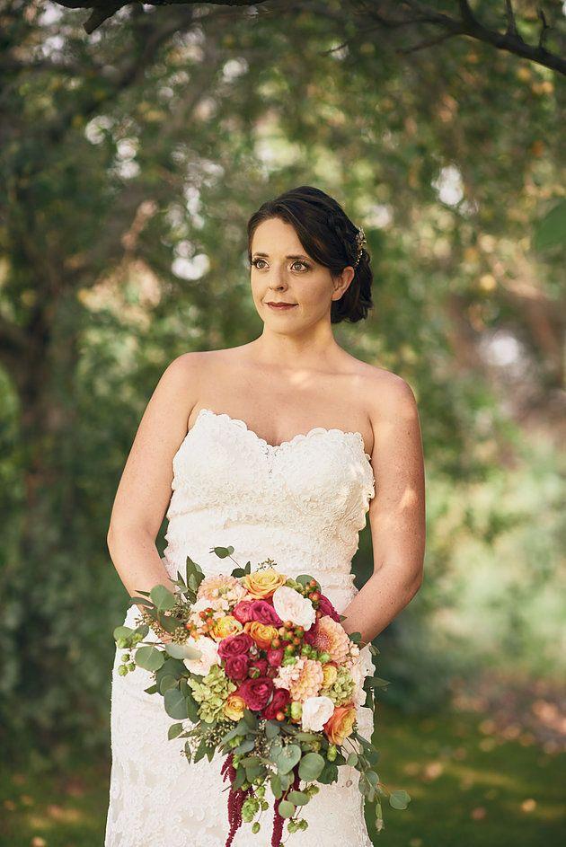 Wilton Photography | The Flower Basket | Moses Lake wedding | Bhldn wedding dress | bridal portraits | orchard portraits | summer wedding | blush and raspberry wedding