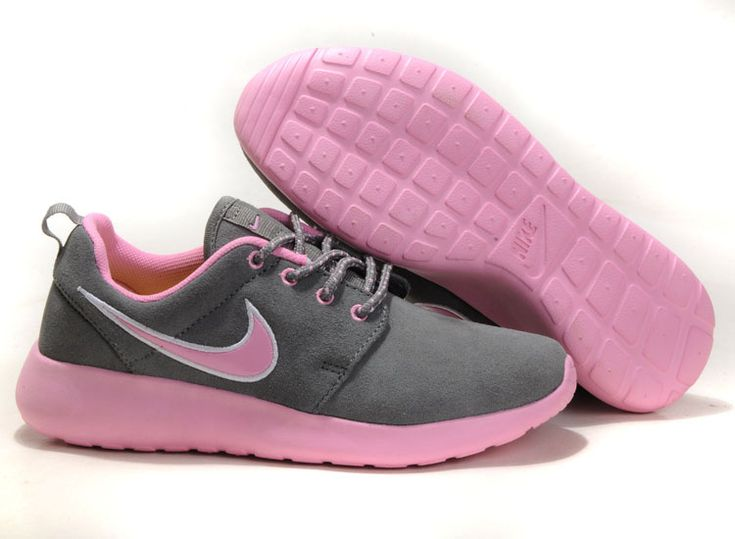 New Styles Nike Roshe Run Suede Womens Gray LightPink