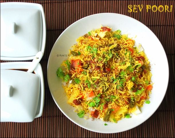 Sev puri is an popular Indian street food, chaat recipe - with step by step pictures!