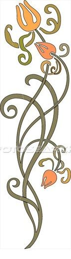 Clipart of Three Orange Flowers on Long Green Swirled Stems
