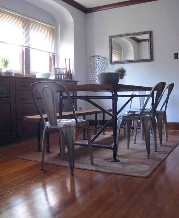 Salvaged Wood And Pipe Table