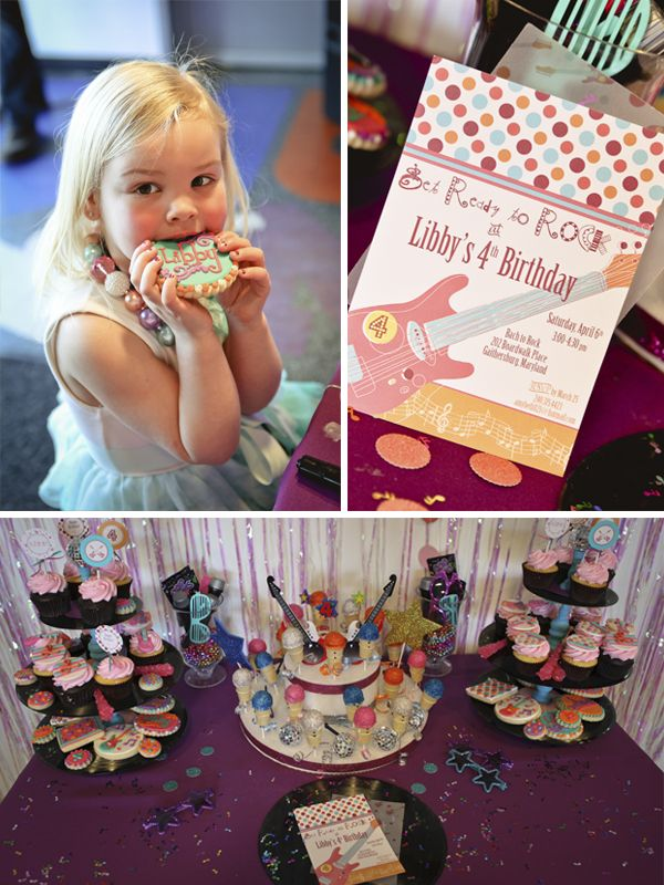Girly Themed Rockstar Birthday Party -- Choose Guitar Themed Invitations, Cookies & Cupcakes to coordinate with your daughter's musical birthday theme