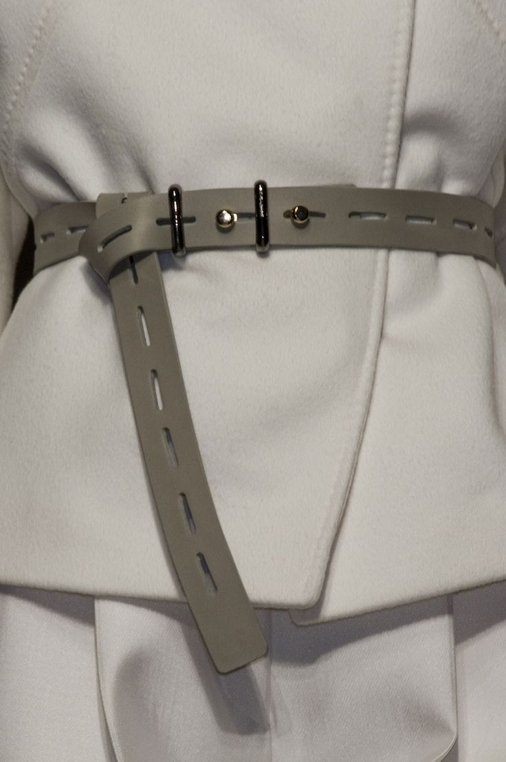Chic white jacket with taupe belt; close up fashion details // Gianfranco Ferre Fall 2012