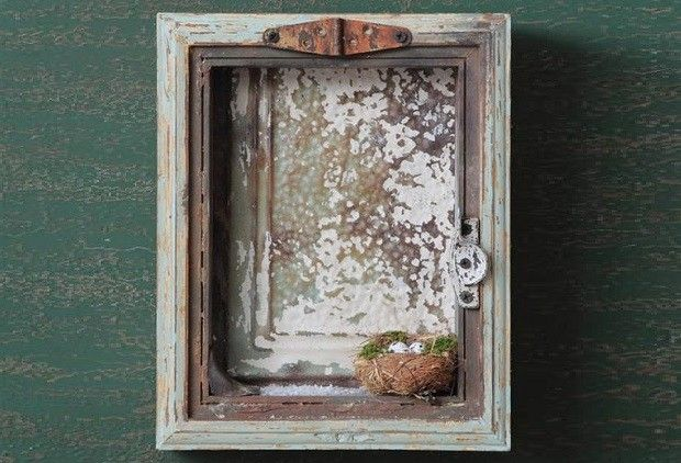 Distressed Wooden Shadow Box - From Antiquefarmhouse.com - http://www.antiquefarmhouse.com/current-sale-events/winter-decor2/distressed-wooden-shadow-box.html