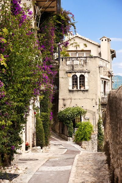 Village of St. Paul de-Vence, Provence France - Lovely spot. Purchased beautiful Med blue glass earrings from artisan. EAch time I wear them, it takes me back!
