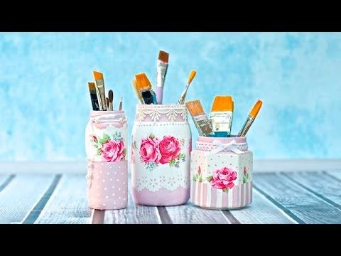 Decoupage jar tutorial for beginners DIY, My Crafts and DIY Projects