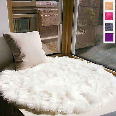 Fluffy Faux Fur/Sheepskin Seat Cover Round Carpet Area Rug Mat White Decor Prop