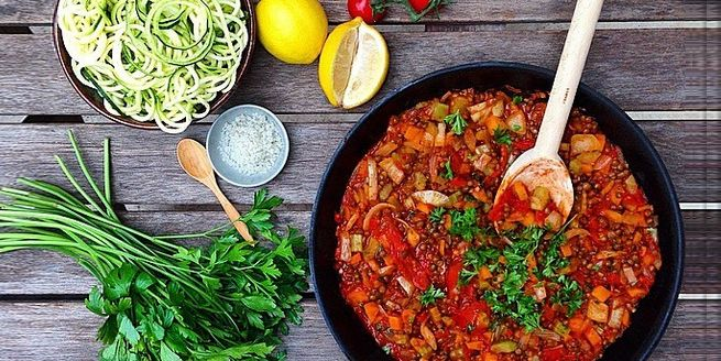Check out this Vegan Bolognese recipe using lentils from our friend, Sami Bloom.