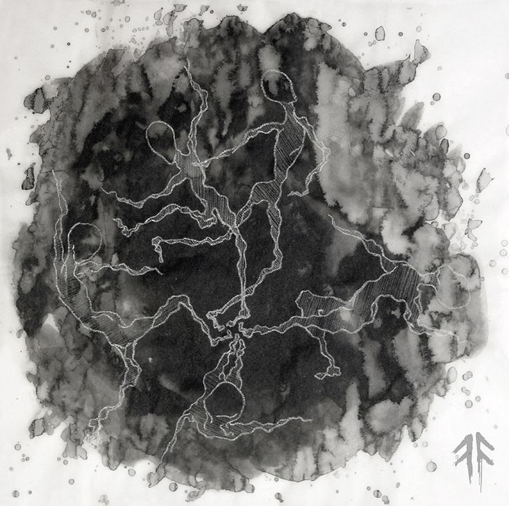 Dance II. (by Fikus), Ink and White Crayon on Tracing Paper