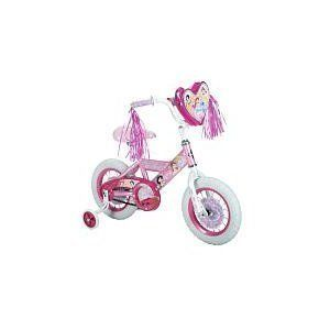 "12 Huffy Disney Princess Girls' Bike by 12 Huffy Disney Princess Girls' Bike. $129.99. Your little girl will feel like a princess every time she gets on her 12"" Huffy Disney Princess Girls' bike. The pretty purple frame of this girl's bike features a handlebar bag with pink bottle, iridescent streamers and front and rear reflectors for added safety. And to help her as she learns how to ride, the Huffy Disney Princess Girls' bike is complete with trainin..."