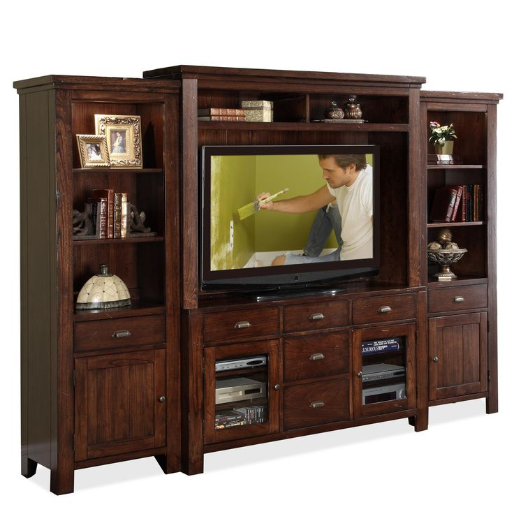 Castlewood Wall Entertainment Unit with Console  Hutch and 2 Storage Piers  by Riverside Furniture. 41 best Entertainment units images on Pinterest   Entertainment