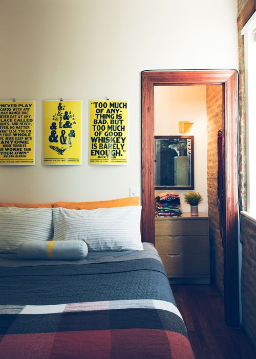 that whiskey poster! neeeed: Margot Harrington, Chad Kouri, Tuesday Morning, Interiors Design, Design Sponge, Plaid Blanket, Cozy Bedrooms, Bedrooms Ideas, Harry Style