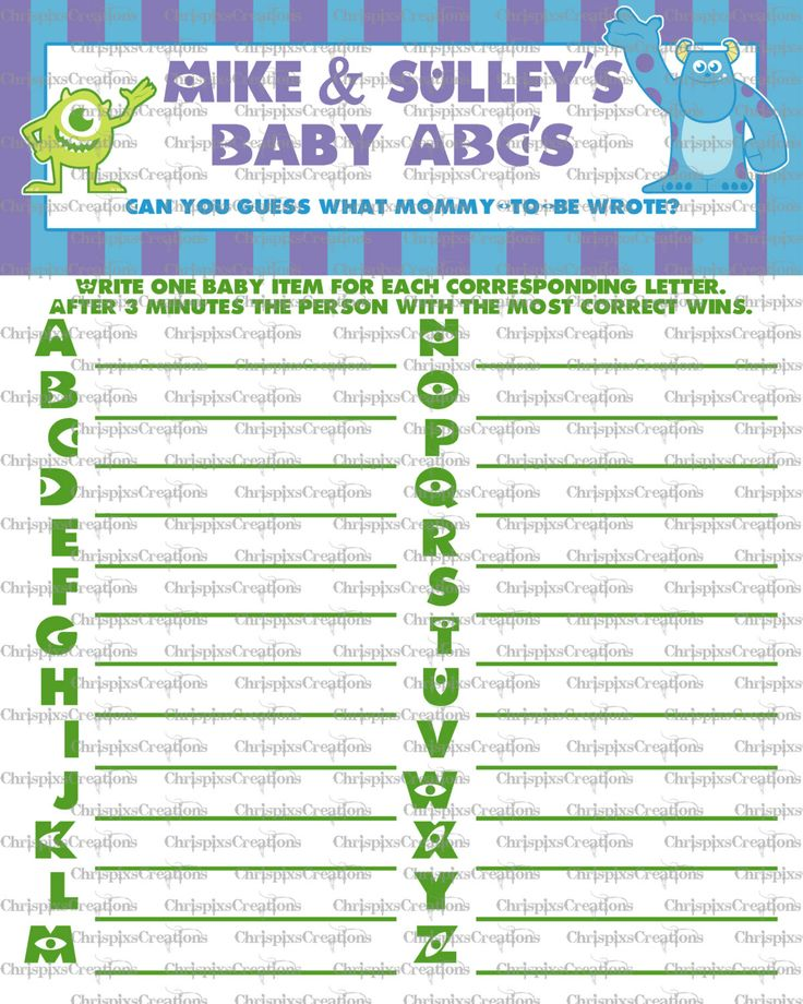 Instant Download ABC Monsters Inc Baby By ChrispixsCreations, $5.00