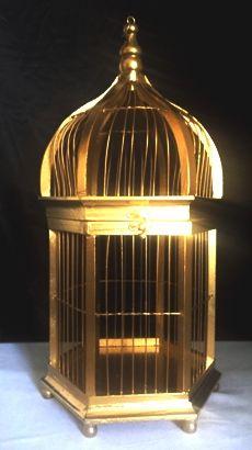 Gold bird cage wishing well 40cm tall