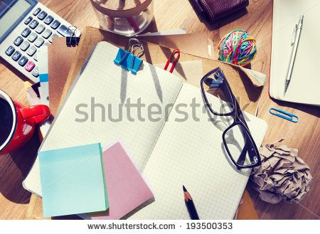 Designer's Desk with Architectural Tools and Notebook - stock photo