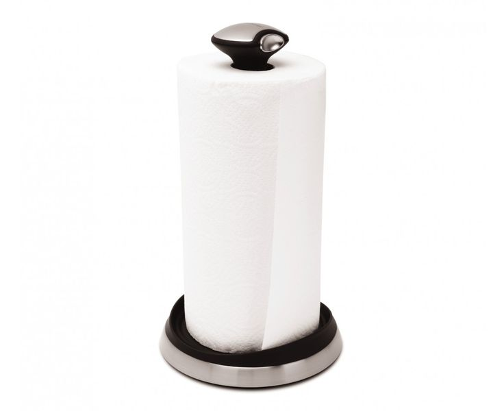 SimpleHuman Quick-Load Paper Towel Holder & Dispenser. Features a quick-release knob so you can easily change the roll on the dispenser. The weighted stainless steel base keeps the holder steady, and the raised edge at base helps keep the roll from unraveling.