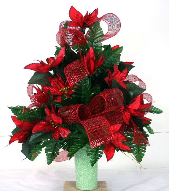 Beautiful Red Poinsettia's Christmas Cemetery by Crazyboutdeco