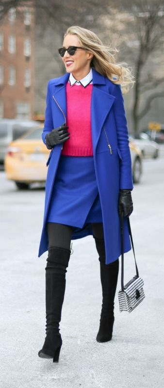 mary orton - new york fashion week street style - fashion blogger - cobalt blue coat and skirt, fuchsia cropped fuzzy sweater, black piped white collared shirt, over the knee stuart weitzman boots, black and white handbag