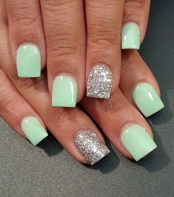 Light sea green and silver nail polish design. Give life to that matte sea green nail polish by adding a striking coat of silver glitter polish for accent.: