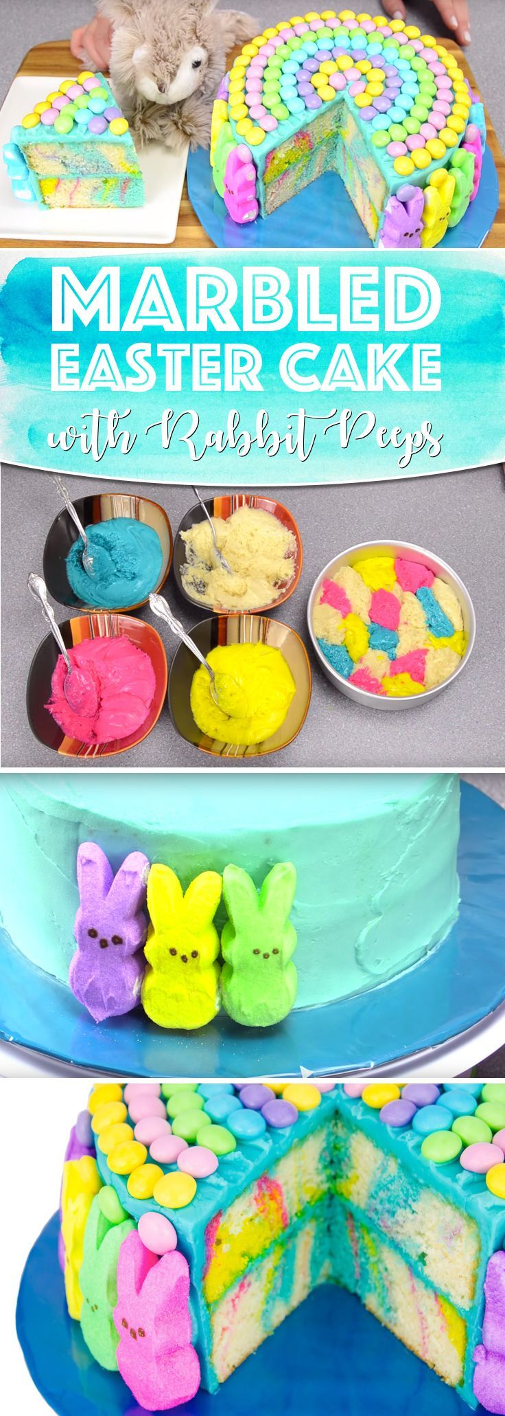 Marbled Easter Cake Adorned with Marshmallow Peeps is Everything The Festival Needs!