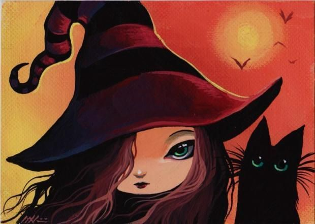 Art 'Little Witch and Cat' - by Nico Niemi from ACEO
