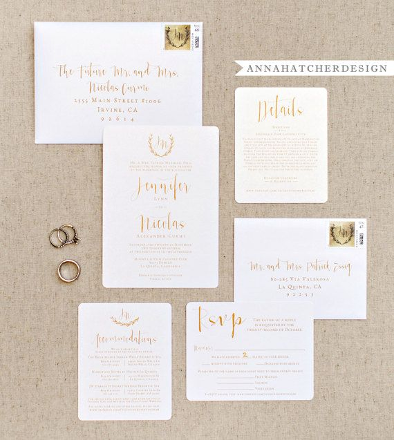 Gold Wedding Invitation Suite by AnnaHatcherDesign...Gorgeous, Elegant Wedding Invitation, Reply Card and Accommodation/Details Card on Metallic Champagne Pearl Paper with Matching Printed Envelopes, Laurel Wreath Modern Calligraphy Monogram