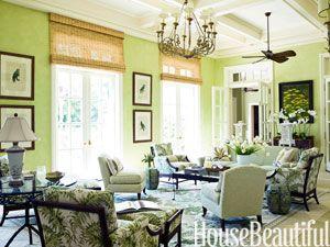 A Tropical Green Living Room. Designed by Allison Paladino. housebeautiful.com