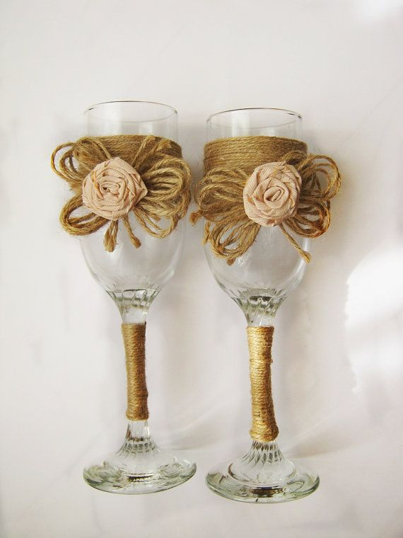 Rustic Wedding Glasses Burlap Wedding  Glasses by HenrietteRenee, $35.00