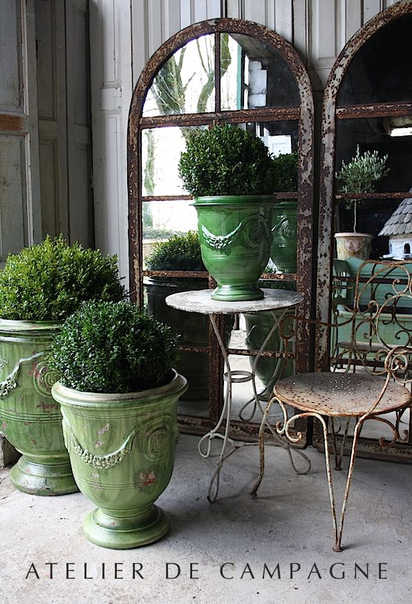 Charming Garden Pots, Mirrors and Patio Table and Chairs for the Garden